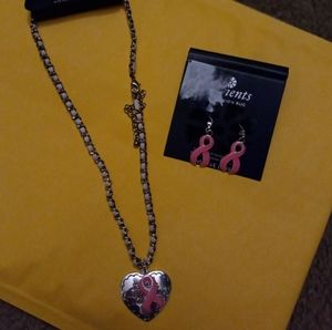 Cancer Support Necklace and Earring Set